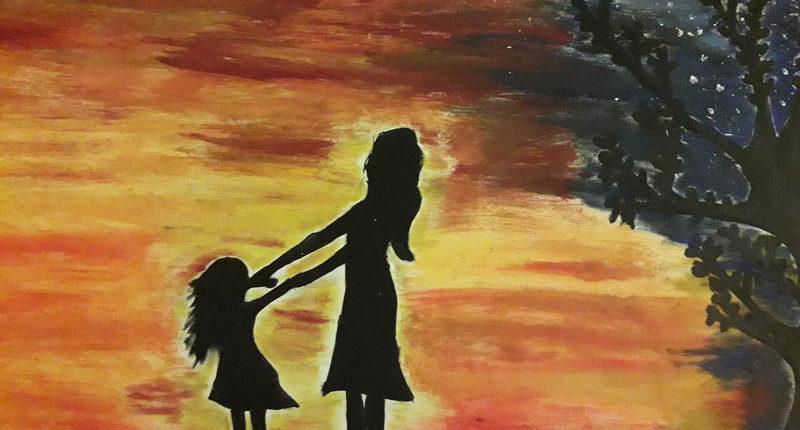 Gemaltes Bild Mutter und Tochter für den Escape Room