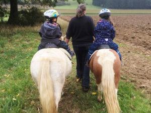 geführtes Ponyreiten für Kinder über die Wiese