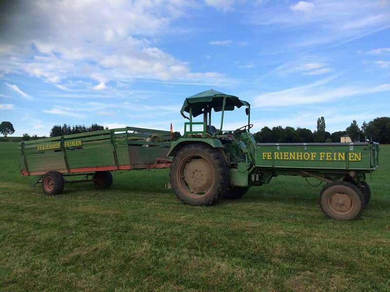 Traktor für Wagenfahrt des Ferienhof Feinen
