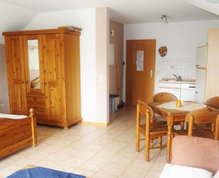 Wohn-Schlafbereich mit Küchenzeile und Esstisch im Appartement 14